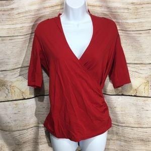 Lands End XS/P red crisscross 1/2 sleeve shirt 639